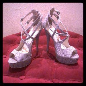 Gray Snakeskin Strappy Heels